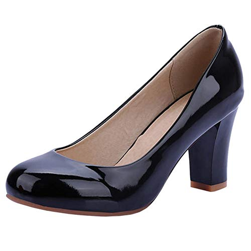COOLCEPT Women Mode Synthetik Patent Geschlossene Blockabsatz Pumps (47 AS, Black)