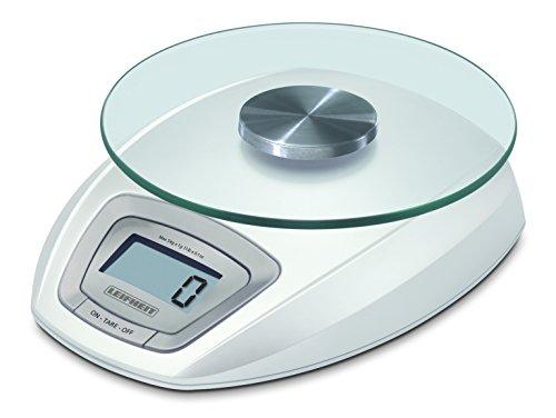 Leifheit digitale Küchenwaage, Tragkfraft bis zu 5 kg, abnehmbare Wiegefläche aus Glas, Haushaltswaage mit Zuwiegefunktion, einfache Reinigung, elektronische Waage inkl. Batterien