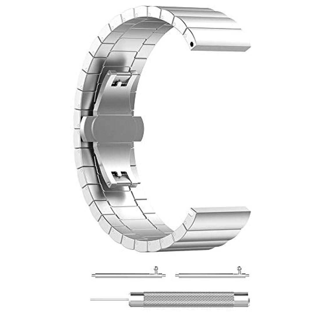 標準ずっと満足させるハイクラスステンレス鋼スポーツFitbitバーサライト/ヴァーサのための適切な交換用リストバンド交換用リストストラップ(シルバー)