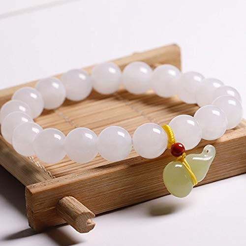 Good Luck Feng Shui Wealth Natural Hetian White Jade Bead gourd pendant Bangle charm Bracelet for Women Feng Shui lucky chinese Gifts Attract Money for Good Fortune Bring Prosperity,10mm