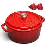 YQG Cacerola Olla esmaltada Vintage Sartén de Hierro Fundido Olla binaural Olla Saludable Cazuela de Sopa con Tapa, Rojo