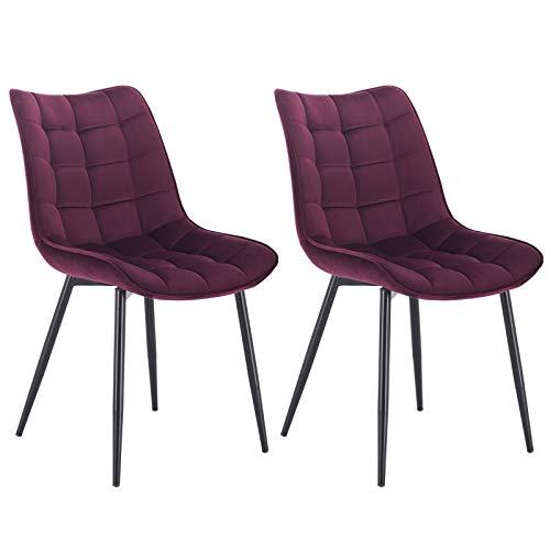 WOLTU® Esszimmerstühle BH142bd-2 2er Set Küchenstuhl Polsterstuhl Wohnzimmerstuhl Sessel mit Rückenlehne, Sitzfläche aus Samt, Metallbeine, Bordeaux