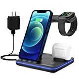 Innens 3 in 1 Wireless Charging Station for Apple, 15W Fast Wireless Charger with Adapter for iPhone 11 Pro Max/Xs Max/XS/XR, Galaxy S21 S20 S10 Phone, Apple Watch 6/5/4/3/2/1, Airpods