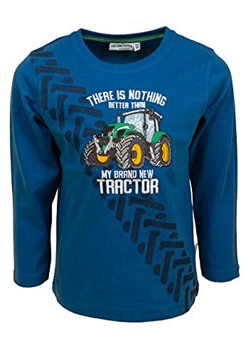SALT AND PEPPER Jungen Langarmshirt Uni Druck Stick Tractor Organic T-Shirt, Nautic Blue, 116/122