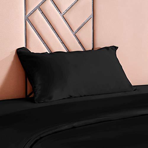 THXSILK - Fundas de almohada de seda, 100% 19 Momme de seda, funda de almohada suave para el cuidado de la piel y anticaída del cabello, antiácaros e hipoalergénicas, Negro , 50x75cm