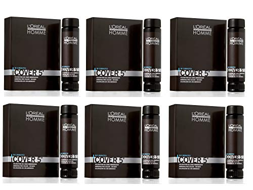 L'Oréal Professionnel Homme Cover 5 No 5 Lot de 6 flacons de 50 ml Marron clair