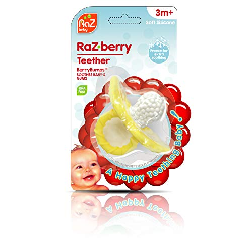 Buy Cheap Razbaby Raz-Berry Silicone Teether/Multi-Texture Design/Hands Free Design/Yellow
