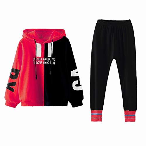 SXSHUN Kinder Mädchen 2tlg Bekleidungsset Jogginganzug Trainingsanzug Sportanzug, Rot, 122/128 (Etikettengröße:130)