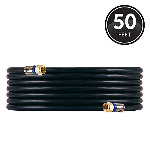 GE RG6 Coaxial Cable, 50 ft. F-Type Connectors, Quad Shielded Coax Cable, 3 GHz Digital, In-Wall Rated, Ideal for TV Antenna, DVR, VCR, Satellite, Cable Box, Home Theater, Black, 33532