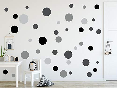 timalo® 120 Stück Wandtattoo Punkte Kinderzimmer Kreise Wandsticker - Aufkleber | 73078-120-SET22 schwarz grau
