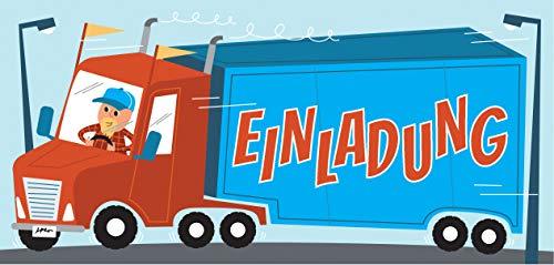 CardWheels 12 Einladungskarten LKW Kindergeburtstag - Mädchen Jungen / Truck