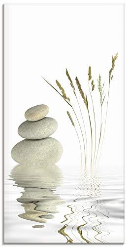 Artland Glasbilder Wandbild Glas Bild einteilig 30x60 cm Hochformat Asien Wellness Entspannung Spa Zen Steine Gräser Reflektion T5VB