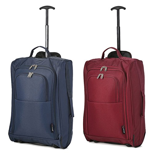 Set von 2 Leichtgewicht Handgepäck Kabinengepäck Flugtasche Koffer Trolley Gepäck (Marine + Wein)