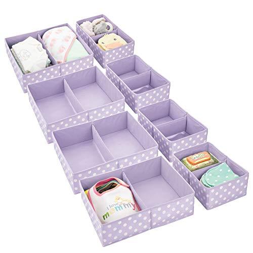 mDesign Juego de 8 Cajas para Guardar Ropa en 2 tamaños – Organizador de Armario con 2 apartados para Cuarto Infantil – Cajas organizadoras de Fibra sintética con Bonitos Lunares – Lila Claro/Blanco