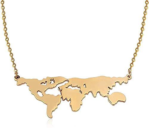 YZXYZH Collar Gran Mapa del Mundo Collares Pendientes Collar De Cadena Larga De Acero Inoxidable Joyería De Viaje De Moda Collar