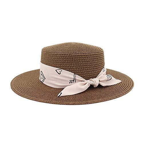 Xuguiping Jazz Hat Ladies Summer Travel Selvaggio kleur Puro Sole Moda Band Pink Top Hoed voor dames 56-58cm Koffie.