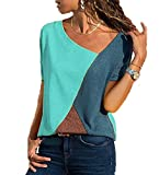 Yutila Camiseta de manga corta para mujer, estilo informal, de patchwork, asimétrico, cuello en V verde XL