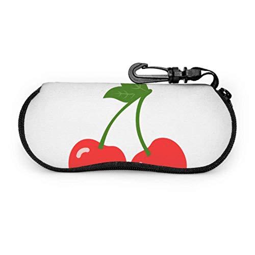 Red Sweet Little Delicious Cherry Eyeglass Holder Case Soft Case for Glasses Light Portable Zipper Soft Case Eyeglass Cases for Teens