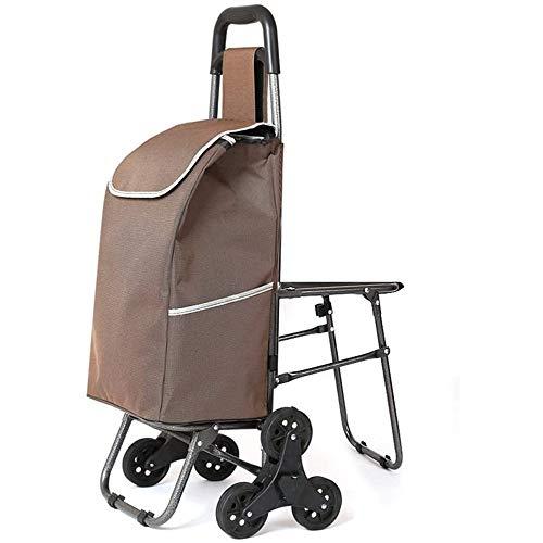 ZWXXQ Einkaufswagen Treppensteigen mit Stuhl Einkaufswagen mit Rädern Teleskopgriff Einkaufswagen Klapp- Zuhause Tragbar Anhänger-26x30x93cm D.
