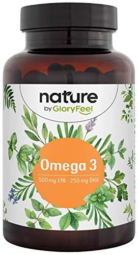 Capsule di Omega 3 Olio di Pesce 1000mg - 500 mg EPA e 250 mg DHA per Cuore e Cervello Sani* - Acidi Grassi Essenziali Omega 3 - Testato e Prodotto in Germania