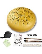 ONE STEP スリットドラム 12インチ13音 打楽器 スチール ハンドドラム タングドラム 瞑想 ヨガ ハンドパン子供 楽器 音楽療法 日本語説明書 (12インチ13音ゴールド)