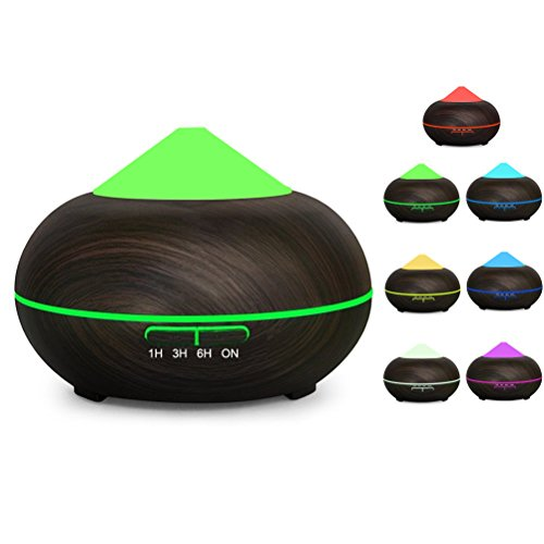 OMAGAX 300ml Wood Grain Ultrasonic Aromatherapy Essential Oil Diffuser Quiet Cool Mist Aroma Humidifier Air with Color Changing Light 4 Timer Setting Auto Shut-Off For Yoga Spa Bedroom Baby Large Room