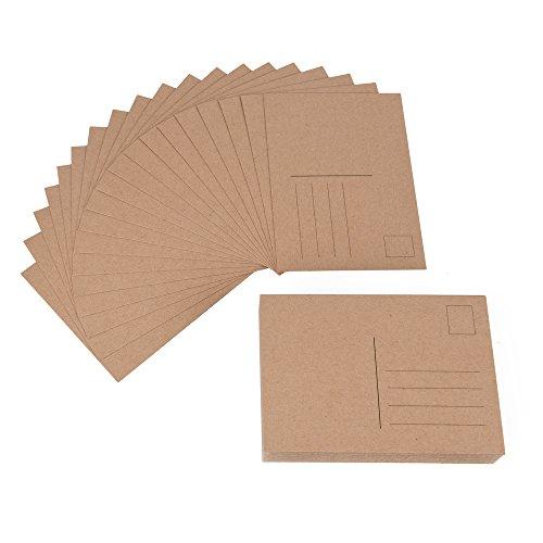 ewtshop® 100 blanko Postkarten aus Kraftpapier, Format A6, perfekt zum kreativen Basteln bemalen, als Grußkarte, Geburtstagskarte, Einladungskarte