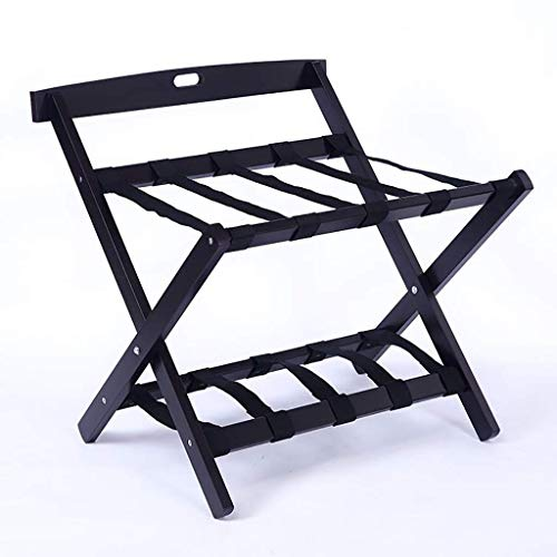 DJSMxlj Luggage Rack Foldable Luggage Rack Bedroom Hotel Suitcase Support With Shoe Rack Solid Wood Luggage Storage Rack Space Shelf Tray Luggage Rack Household Hanger for Bedroom (Color: Black)