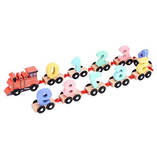 Sorand Remolque para niños de Madera, sin Rebabas, geometría, Color, Tren de Madera cognitivo, Juguetes para niños pequeños, para bebés y niños(Red)