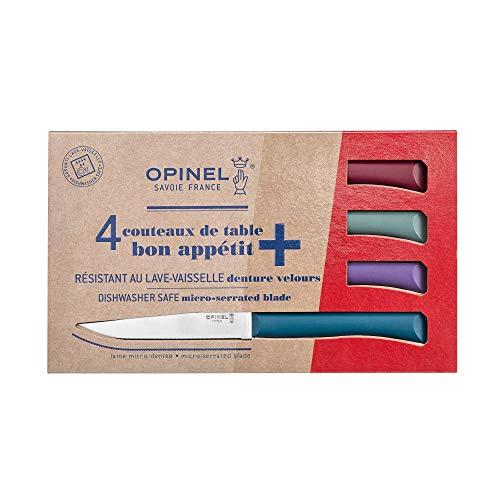 OPINEL - Coffret Table Bon Appétit Glam - 4 Couteaux OPINEL de Table - Couteaux à Steak de Table - Lame Inox Microdentée 11 cm et Manche Polymère - Grenat, Sauge, Violet, Bleu Canard