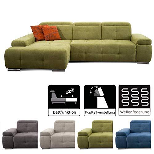 CAVADORE Schlafsofa Mistrel mit Longchair XL links / Große Eck-Couch im modernen Design / Mit Bettfunktion / Inkl. verstellbare Kopfteile /...