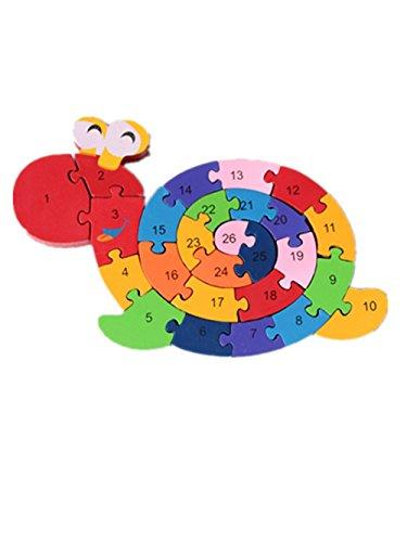 Woop Spannendes Zahlen-Puzzle Holz Schnecke - P?dagogisches Lern-Spiel - Zahlen von 1 bis 26 - Buchstaben von A bis Z - Klein-Kinder ab 3 Jahre