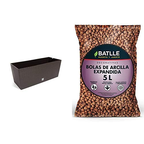 Prosperplast Jardinera Mod Rato J 600 C/Autorriego, Chocolate, 60 Cm + Sustratos - Sustrato Bolas Arcilla Expandida 5L - Batlle