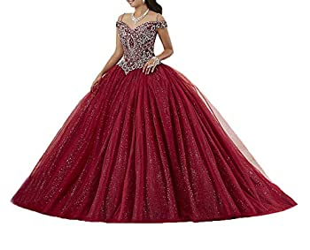 Graceprom Women s Spaghetti Straps Burgundy Quinceanera Dresses Beaded Crystal Sweet 16 Ball Gowns Burgundy A 8
