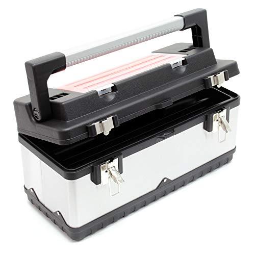Wiltec Werkzeugkoffer 50,5x23,5x25,5cm aus Edelstahl mit Kunststoff-Rahmen, Werkzeugträger und Griff