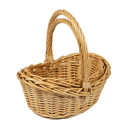 Juego de 2 cestas de mimbre natural, forma de barco