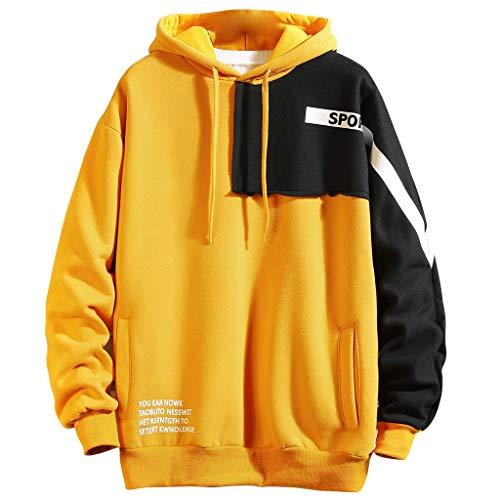 Realde Herren Lange Ärmel Sweatshirt Pullover Freizeit Drucken Patchwork mit Taschen Mantel Outwear Herbst und Winter Kapuzenshirt für Fitness Kapuzenpullover