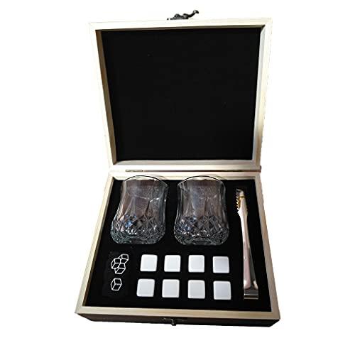 Grbewbonx Set de regalo de piedras de whisky y vasos de whisky piedras de mármol whisky posavasos de lujo caja de madera regalo para papá