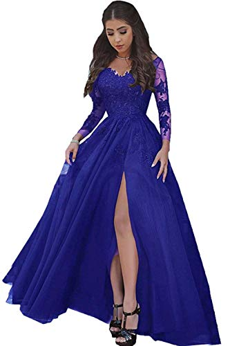 LastBridal Women Sexy V Neck Lace Appliques Long Sleeves Prom Dresses Formal High Slit Evening Gowns LB0076 US 16 Royal Blue