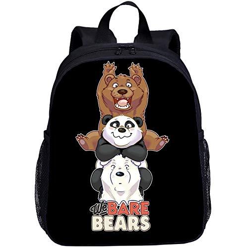 Bare Bears - Mochila escolar con dibujos animados de animación para niños pequeños, mochila escolar impermeable de nailon, N01 (Beige) - SE0FG54E
