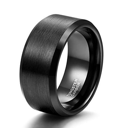 10mm Wide Tungsten Wedding Band Ring for Men Black Beveled Edge Brushed Comfort Fit Size 10