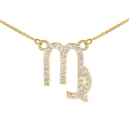 "Astrology Jewelry Double-Mounted 14k Yellow Gold Diamond Virgo Zodiac Pendant Necklace, 22"""