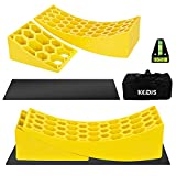 KGDJS Camper Levelers 2 Pack - RV Leveling Blocks for Travel Trailer Include 2 Curved RV Levelers with 2 Camper Wheel Chocks, 2 Mats,1 Level,1 Bag, Heavy Duty Leveler Works for Camper Up to 35,000 LBs