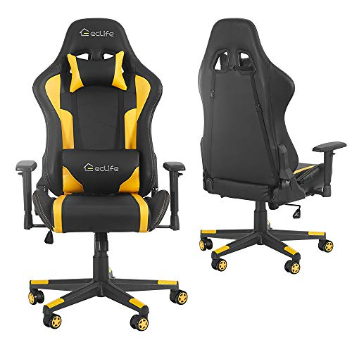 Merax Gaming Chair Computer Home Desk Chair Racing Comfy Office Chair Ergonomic High Back Reclining Executive Chair Comfortable for Gamers Teens/Adult/Kids (Yellow&Black: Max 330lbs)