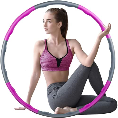 Yohencin Hula Hoop para bajar de peso y masaje, 8 secciones desmontables plegables, bucles extraíbles adecuados para fitness, deportes, hogar, oficina, forma del vientre (polvo gris)