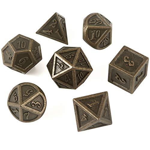 YzDnF Conjunto de Dados Conjunto de Dados de Entretenimiento Conjunto de Dados de Juego de Dados de múltiples Caras de Metal (2 Sets) DND Game Polyhedral D & D (Color : Bronze, Size : 16mm)
