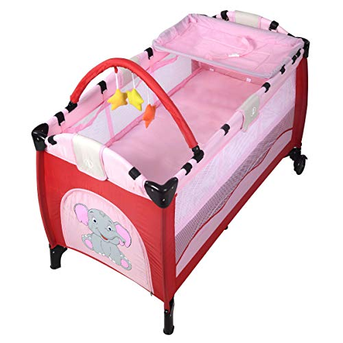 Great Price! Portable Deluxe Baby Crib Playpen Travel Infant Bassinet Bed Foldable Pink Safety