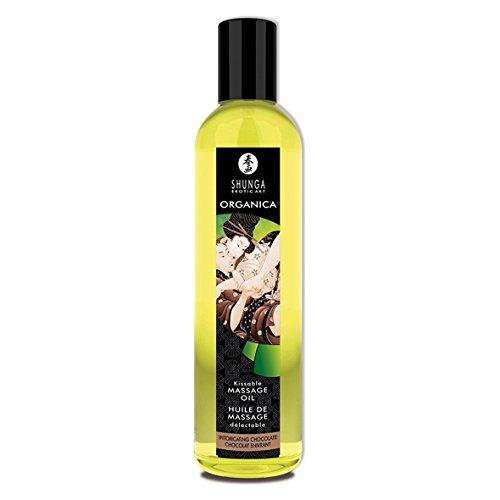 Shunga Aceite Orgánico Intoxicating Chocolate, Color Amarillo Translúcido - 250 ml