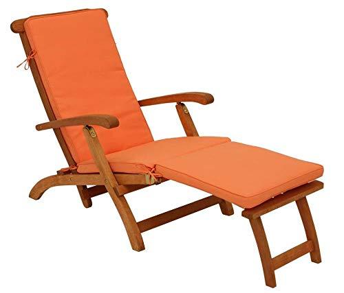 ALL-JingHong Sonnenliege verstellbar Lounge Liege Balkon e Klappbar Relax-Liegestuhl Liegestuhl Garten Relaxliege Wellnessliege Strandliege für Garten und Terrasse Orange JH-1364