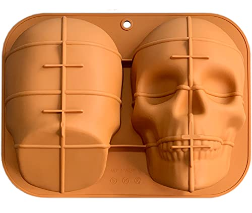 JETKONG Large Skull Cake Pan Haunted Skull Baking Cake Mold for Halloween and Birthday Party